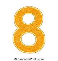 Digit 8 made from orange fruit isolated