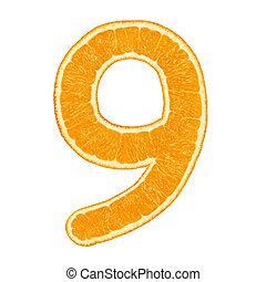 Digit 9 made from orange fruit isolated