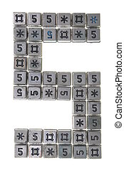 Digit five made from buttons