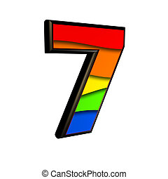3d digit with rainbow texture isolated on white background - 7