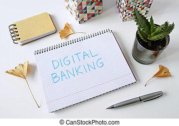 digitaal bankwezen, geschreven, in, een, aantekenboekje