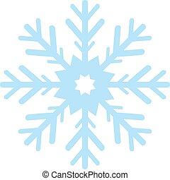 digitaal gegenereerde, blauwe sneeuw, vlok