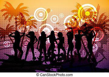 digitaal gegenereerde, nightclub, achtergrond