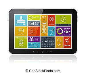 digitaal tablet, met, moderne, ui