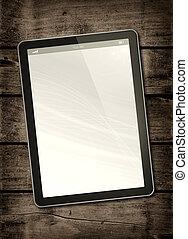 digitaal tablet, pc, op, een, donker, hout, tafel