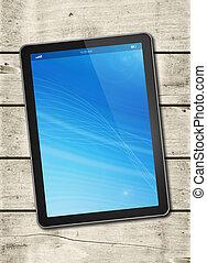 digitaal tablet, pc, op, een, witte , hout, tafel