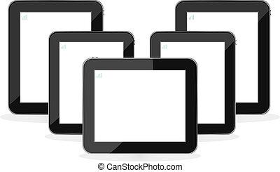 digitaal tablet, pc, set, vrijstaand, op wit