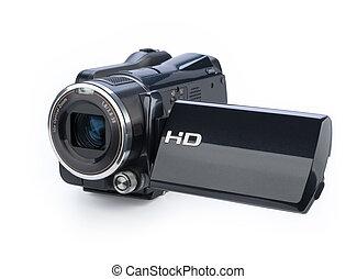 digitaal video fototoestel, vrijstaand, op wit, achtergrond