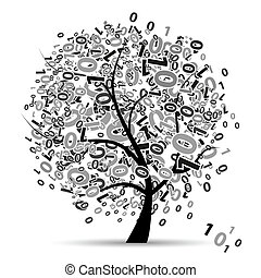 digital, árbol, números, silueta