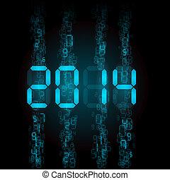 Digital 2014 numerals. - New Year 2014: blue digital...