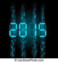Digital 2015 numerals. - New Year 2015: blue digital...