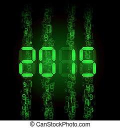 Digital 2015 numerals. - New Year 2015: green digital...