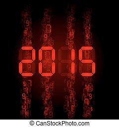 Digital 2015 numerals. - New Year 2015: red digital numerals...