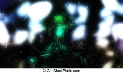 Digital 3D Animation of a Cyborg Head