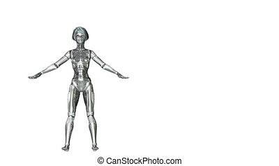 Digital 3D Animation of a dancing female Cyborg