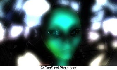 Digital 3D Animation of an Alien Head