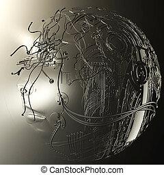 Digital 3D Illustration of a Cyborg Head