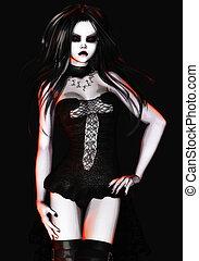 Digital 3D Illustration of a Gothic Female