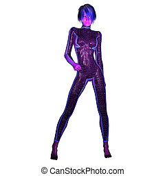 Digital 3D Illustration of a Science Fiction Female; Cutout on w