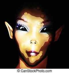 Digital 3D Illustration of an Alien