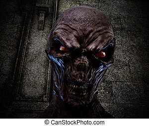 Digital 3D Illustration of creepy Ghoul