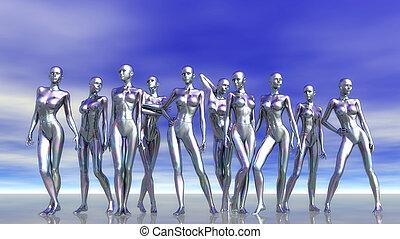 Digital 3D Illustration of Manikins