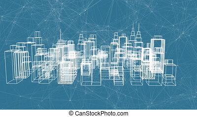 Digital 3D model of a city structure