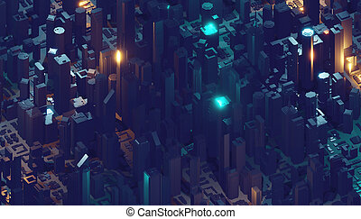 Digital 3d rendering city. Light trails symbolise data travelling in modern city. Flowing data particles and random shapes
