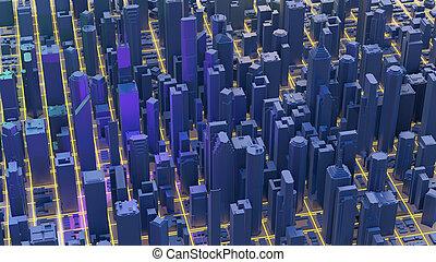 Digital 3d rendering city. Light trails symbolise data travelling in modern city