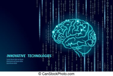 Digital 3D shape of human brain. Low poly polygonal particle point line geometric render. Mental education creative idea future mind technology concept blue binary code vector illustration