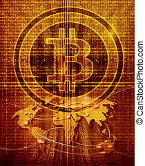digital abstract background with bitcoin symbol and world map