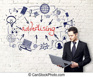 Digital advertising concept - Attractive young businessman...