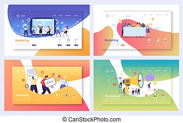 Digital Advertising Marketing Landing Page Set. Business ...