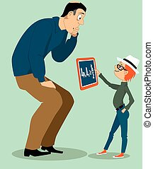 Digital age homework - Little kid showing his confused...