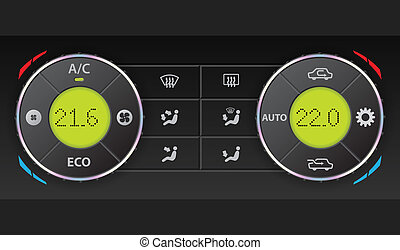 Digital air condition dashboard with complete control and...