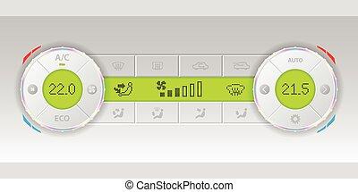 Digital air condition white dashboard design with dual ac...