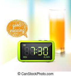 Digital alarm clock background - Realistic digital alarm...