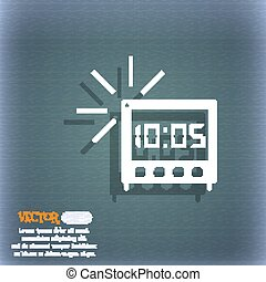 digital Alarm Clock icon sign. On the blue-green abstract background with shadow and space for your text. Vector