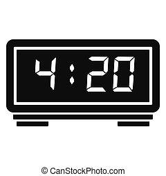 Digital alarm clock icon, simple style