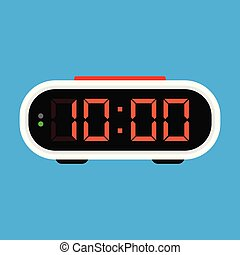 Digital alarm clock icon. Vector Illustration, on blue...