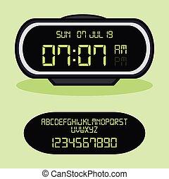 Digital alarm clock. Vector Illustration, on green background