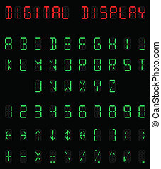 Digital alphabet and number set individually layered