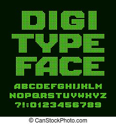 Digital alphabet font. Led display pixel letters and numbers.