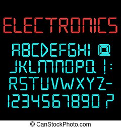Digital alphabet, numbers and punctuation marks