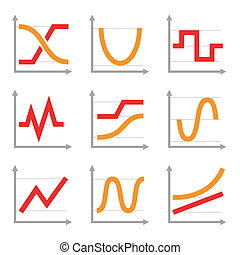 Digital and Analog Colorful Charts Diagrams. Red Orange Vector Set