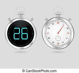 digital and analog speedometers timers set