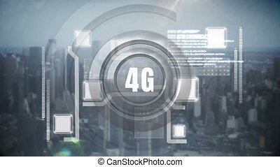 Digital animation around 4G with buildings background