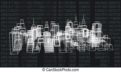3D model of a city with tall buildings