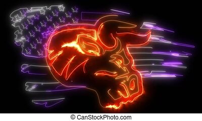 digital animation of a bull with american flag that lighting up on neon style
