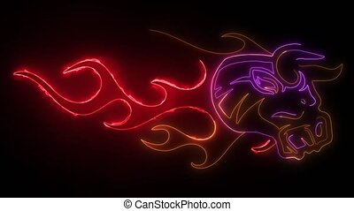 digital animation of a bull with flames that lighting up on ...